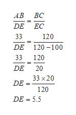 ВС АВ DE ЕС 120 33 DE 120 100 120 33 DE 20 33 х20 DE= 120 DE 5.5