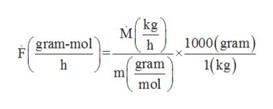 kg 1000( gram 1(kg) gram-mol h h gram mol