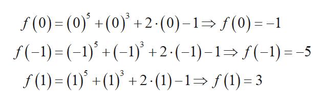 f(0)-(0)+(0)+2 (0)-1(0)-1 f(-1)= (-1)() +2-(-1)-1>f(-1) = -5 f(1)=(1)+(1)+2(1)-1(3 3