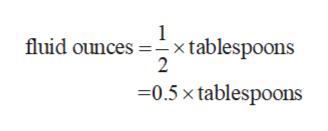 1 fluid ounces xtablespoons 2 -0.5 x tablespoons