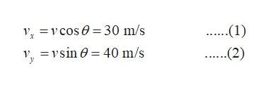 .(1) V cos=30 m/s vvsin 40 m/s ..(2)