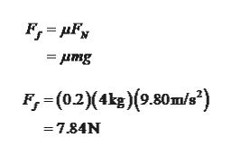 F,(02)(4kg)(9.80m/s') =7.84N