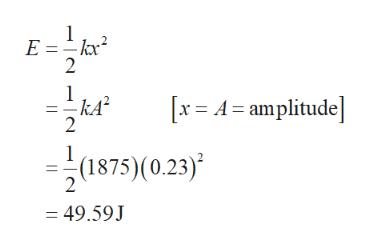 E =kx 2 1 kA2 2 x A amplitude 1 (1875) (0.23)' = 49.59J