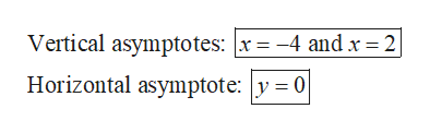 Vertical asymptotes: x= -4 and x= 2| Horizontal asymptote: y = 0|