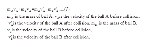 mAVAtm3V3mVtm2vs...I) m is the mass of ball A, v^is the velocity of the ball A before collision is the velocity of the ball A after colli sion, mg is the mass of ball B is the velocity of the ball B before collision, is the velocity of the ball B after collisi on