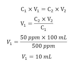 СтX V, %3D С2 X V, С2 X V2 С1 50 ррт х 100 mL V1 500 ррm И 3 10 mL