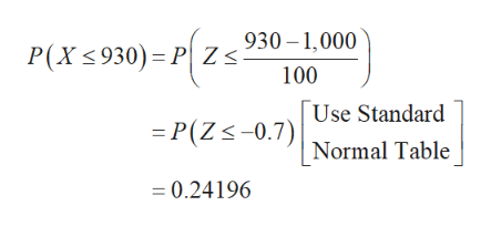 930-1,000 P(X 930) P Z< 100 Use Standard =P(Zs-0.7) |Normal Table 0.24196