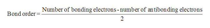 Number of bonding electrons -number of antibonding electrons Bond order 2