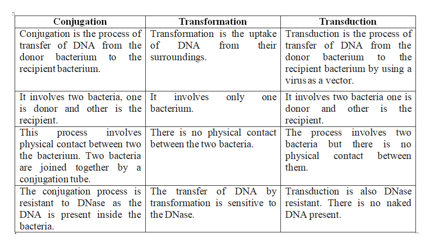 Conjugation Transformation Transduction Conjugation is the process of Transformation is the uptake| Transduction is the process of from their transfer of DNA from the transfer of DNA from the of DNA the surroundings donor bacterium to donor bacterium to the recipient bacterium recipient bacterium by using a virus as a vector It involves two bacteria, one | It is donor and other is the | bacterium. recipient. This physical contact between two between the two bacteria one It involves two bacteria one is involves only donor and other is the recipient involves There is no physical contact The process involves two bacteria but there is no process physical them the bacterium. Two bacteria between contact are joined together by a conjugation tube. The conjugation process is The transfer of DNA by Transduction is also DNase resistant to DNase as the| transformation is sensitive to resistant. There is no naked DNA is present inside the | the DNase bacteria DNA present