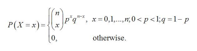 п x 0,1,0p <l;q 1- p X n-x P(X=x) 2 х 1 otherwise