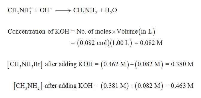 CH,NH OH - > CH,NH2H0 Concentration of KOH No. of moles x Volume(in L) (0.082 mol)(1.00 L) = 0.082 M = [CH,NH,Br after adding KOH= (0.462 M)-(0.082 M) 0.380 M CHNH after adding KOH = (0.381 M) +(0.082 M) = 0.463 M