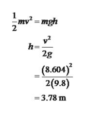 1 -mgh 2 h= 2g (8.604) 2(9.8) -3.78 m
