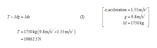 a,accleration 155m/s g-9.8m/s M 1750kg T -Mg Ma (T) T 1750kg (9.8m/s +1.55 m/s =19862.5N