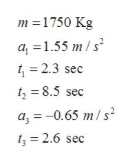 m 1750 Kg a 1.55 m/s2 = 2.3 sec = 8.5 sec a 0.65 m/s t = 2.6 sec