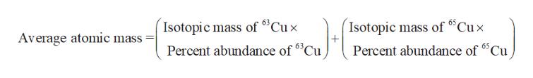 """Isotopic mass of 6""""Cux Isotopic mass of Cux Average atomic mass 65 Percent abundance of63Cu Percent abundance of Cu"""