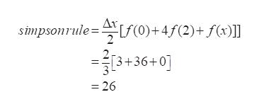 0) + 4f(2)+f(x)] simpsonrule= 3+36+0] =26