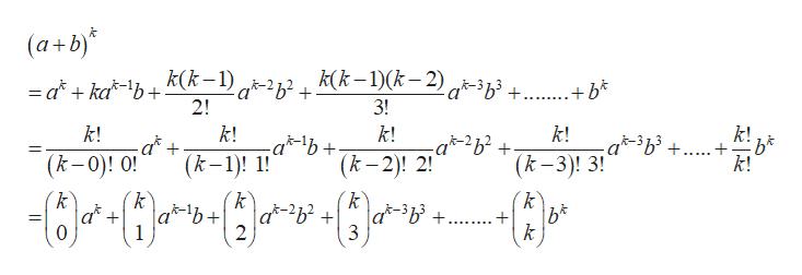 (a+b)* =d+ka*\b+ k(k-1) q-2z2 + k(k -1)(k,2) q-3z3 + +* 2! 3! k! k! -ab k! k! k! +... k! (k-3)! 3! (k-1)! (k-2)! 2! (k-0)! 0! k C} k k k a-2b2 + a*-3b3 +. k 2 3