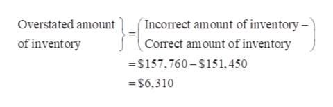 (Incorect amount of inventory - Correct amount of inventory Overstated amount of inventory =$157,760-$151, 450 =$6,310