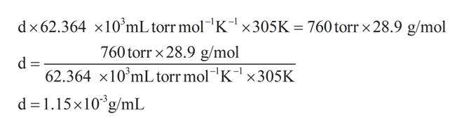 "dx62.364 x10'mL torr mol K1 x305K 760torr x 28.9 g/mol 760torr x28.9 g/mol d 62.364 x10 mL torr mol""K-1 X305K d 1.15x10g/mL"