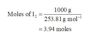 """1000 g Moles of 2253.81g mol"""" 3.94 moles"""