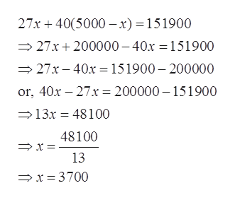 27x 405000 x) = 151900 27x 200000-40x =151900 27x-40x = 151900- 200000 or, 40x 27x = 200000 -151900 13x 48100 48100 13 x = 3700
