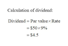 Calculation of dividend: Dividend Par value x Rate $50x 9% $4.5