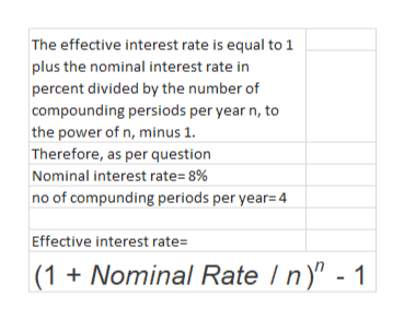 """The effective interest rate is equal to 1 plus the nominal interest rate in percent divided by the number of compounding persiods per year n, to the power of n, minus 1 Therefore, as per question Nominal interest rate=8% no of compunding periods per year=4 Effective interest rate= (1 Nominal Rate n"""" - 1"""