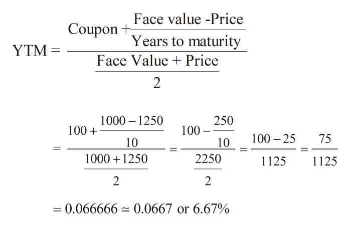 Face value -Price Coupon Years to maturity Face Value Price YTM 2 1000 1250 250 100 100 100 25 75 10 10 1000 1250 2250 125 1125 2 2 = 0.066666 0.0667 or 6.67%
