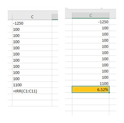 C -1250 -1250 100 100 100 100 100 100 100 100 100 100 100 100 100 100 100 100 100 100 1100 1100 6.52%   =IRR(C1:C11)