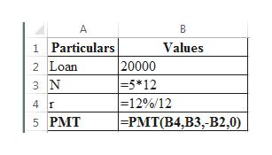 A B 1 Particulars 2 Loan Values  20000 -5 *12 - 12 % / 12 =PMT(B4,B3,-B2,0) 3 N 4 f 5 PMT