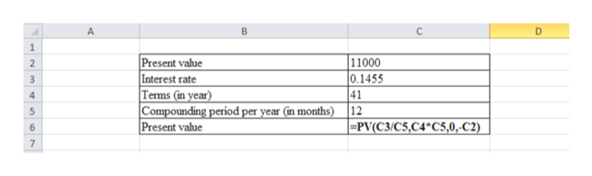 1 Present value Interest rate Terms (in year) Compounding period per year (in months) |Present value 11000 0.1455 41 12 |-PV(C3/C5,C4*C5,0,-C2) 2 4 5 6 7