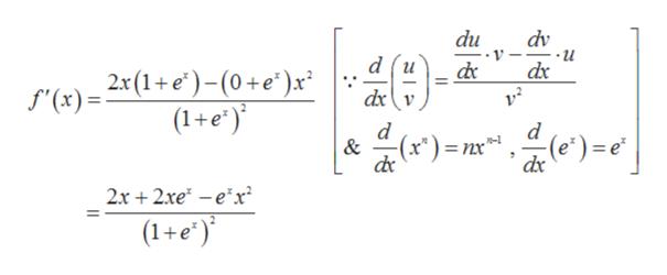 """du dv d (u f'(x)= 2x(1+e)-(0+e* )x (1+e' dx dx v d -(x*)= nx"""" -(e)e dx & 2x2xeex (1+e'"""