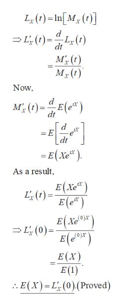 L()-In[M (] L(t)L(t) dt MT, (t) Now M0)E) dt = E e dt = E(Xe) As a result E(Xe) L() E (e) EXe L(0) E(XT) E(X) E(1) . E(x) L (0)(Proved)