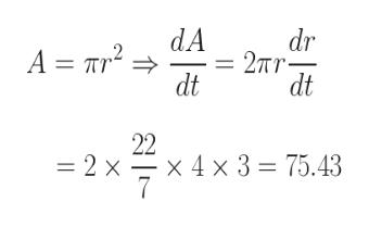 dr 2Tr dt dA A r2 dt 22 x 4 x 3 75.43 =2 x
