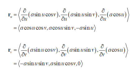 (asin ucosv)(asin usin v), (acosu)} \au ' ôu (a cosucos v, acosusin v,-asinu) (asinucosv)(asin usin v),(acosu) 'av \av =(-asinusin v,asinucosv,0)