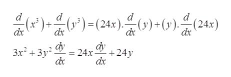 d (24x) d d d (x*)- dx (x)= (24x)- ()+ (v) dx 3x23y 24x- +24y
