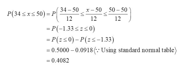 34 50 50 50 х — 50 P(34 xs 50) P 12 12 12 P(-1.33 0) P(s0)-P(-1.33) 0.5000 0.0918 (-.- Using standard normal table = 0.4082