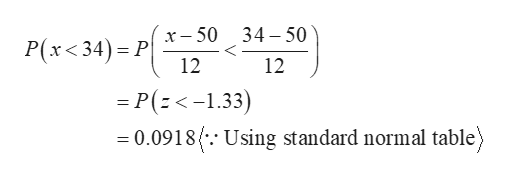 P(x<34) Px-50 12 34 50 12 = P(:<-1.33) 0.0918. Using standard normal table)