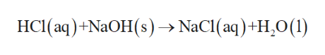 HCI(aq)+NaOH(s)-NaCI (aq)+H,0(1)