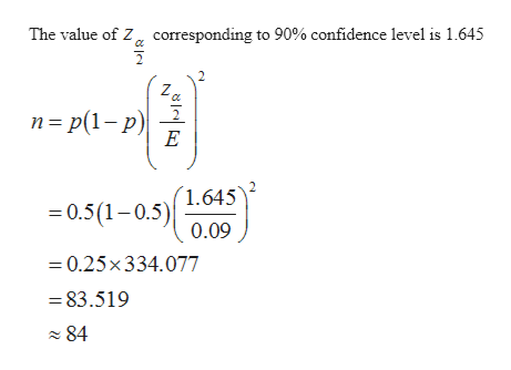 The value of Z corresponding to 90% confidence level is 1.645 n p(1-p) E 1.645 =0.5(1-0.5) 0.09 =0.25x334.077 83.519 84 8