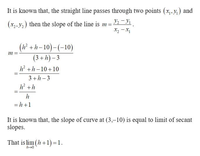 It is known that, the straight line passes through two points (x,.y) and y2-y1 (x2 y then the slope of the line is m = (h+h-10)-(10) (3+h)-3 m= h2h1010 3 h 3 h -h+1 It is known that, the slope of curve at (3,-10) is equal to limit of secant slopes That is lim(h1) 1 h-0