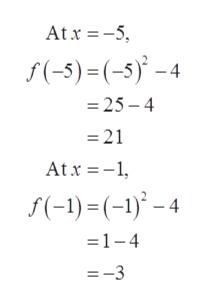 At x 5 f(-5)=(-5)-4 =25- 4 =21 Atx1 f(-1)(-1)-4 1-4 =-3