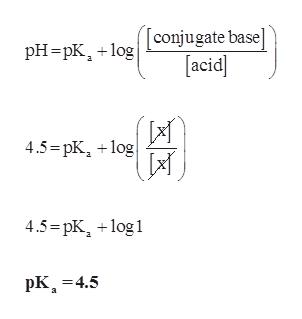 Tconjugate base acid pHpKg 4.5=pKog 4.5=pK log pK 4.5