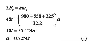 EF=ma 900550 325 40f 32.2 40f 55.124a a 0.7256 (1)
