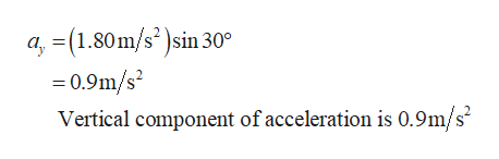 a, (1.80m/s2)sin 30 =0.9m/s Vertical component of acceleration is 0.9m/s2