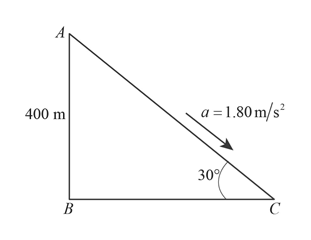 a = 1.80m/s 400 m 30 В С
