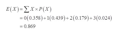 E(X) - ΣΧ P(X =0(0.358)+1(0.439) + 2 (0.179)+ 3 (0.024) = 0.869