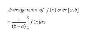 Average value of f (x) over [a,b] 1 f(x)dx (b- а)