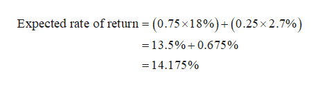 Expected rate of return = (0.75x18%)+(0.25x 2.7%) =13.5%0.6 75 % 14.175%