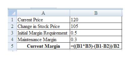 А В 1 Current Price 2 Change in Stock Price 3 Initial Margin Requirement |0.5 4 Maintenance Margin Current Margin 120 105 0.3 |=(B1*B3)-(B1-B2) B2 5
